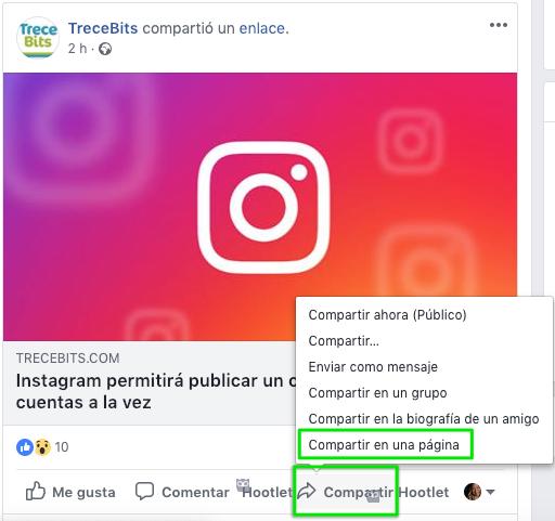 Compartir publicaciones Facebook