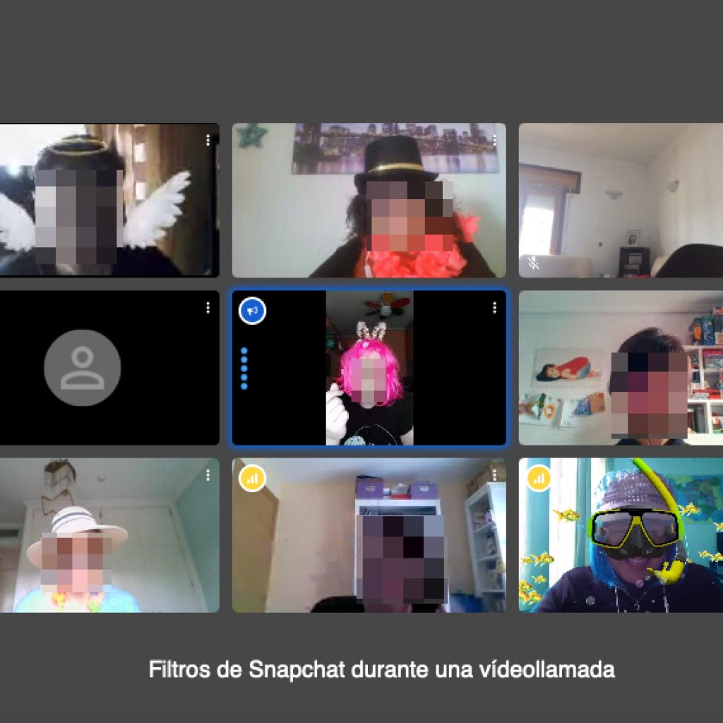 Videollamada grupal utilizando los filtros de Snapchat